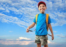 Kid with with backpack Stock Image