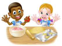 Kid Bakers Cooking Stock Image