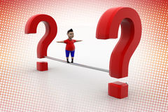 Kid balanced through question marks In Halftone Stock Image