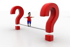 Kid balanced through question marks Stock Images