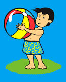 Kid with ball. Boy having fun at beach with ball Vector Illustration
