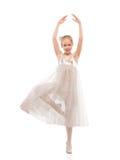 Kid ballet dancer. Portrait of blonde kid ballet dancer on white royalty free stock photo