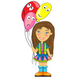 Kid with balloon. baby girl at birthday party Royalty Free Stock Photo