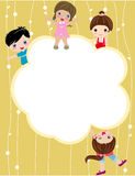 Kid and banner Royalty Free Stock Images