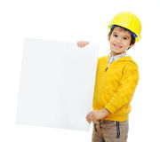 Kid with banner Royalty Free Stock Images