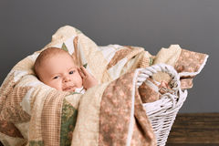 Kid in a basket. Caucasian baby and blanket Royalty Free Stock Photos