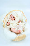 The kid in a basket Royalty Free Stock Photos