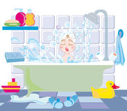 Kid in bath. A little boy takes a bath with toys Royalty Free Stock Image