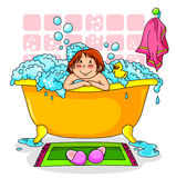 Kid in the bath. Kid in a bath full of foam Royalty Free Stock Photography