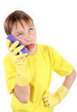 Kid with Bath Sponge. Annoyed Kid with Bath Sponge and Rubber Gloves Isolated On The White Background Stock Photo