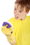 Kid with Bath Sponge Royalty Free Stock Photo
