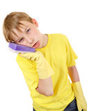 Kid with Bath Sponge Royalty Free Stock Images