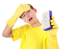 Kid with Bath Sponge Royalty Free Stock Photos