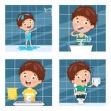 Kid Bathing, Brushing Teeth, Washing Hands After Toilet. Vector Illustration Of Kid Bathing, Brushing Teeth, Washing Hands After Toilet Stock Photography