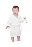 The kid in a bathrobe Stock Image