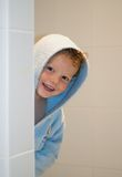 Kid in Bathroom Stock Images