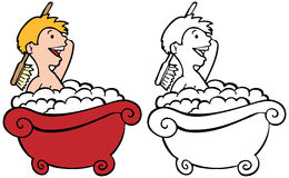 Kid in Bathtub Royalty Free Stock Images
