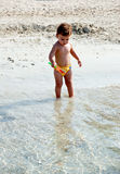 Kid in the beach royalty free stock photos