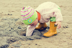 Kid on the beach Stock Images