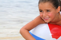 Kid with beach ball Royalty Free Stock Photography