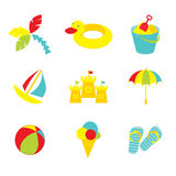 Kid beach icons Stock Photography