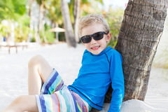 Kid at the beach. Little boy in sunglasses having fun at the beach at key west, florida Stock Photo
