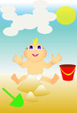 The kid at the beach playing in the sand. Vector image of the child on the beach playing in the sand Stock Image