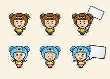 Kid in a bear costume. Cartoon kid in bear costume set. Kid holding blank sign. Vector set Stock Image