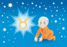 Kid, bear under a sign a zodiac taurus Royalty Free Stock Photo