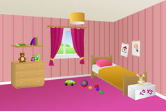 Kid bed pink room interior toys window illustration Stock Photography