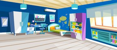 Kid bedroom with boy, children`s bedroom with furniture. Bed, books, bookcase area, desk, bookshelf. Boy room with big window suffused with light vector royalty free illustration