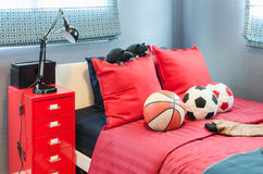 Kid bedroom design with ball. At home Stock Image