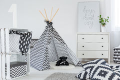 Kid bedroom with play tent Royalty Free Stock Image