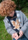Kid and beetle. Young boy (7) sitting on the grass and holding and looking at a small dung beetle in his hands Royalty Free Stock Photography