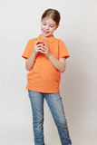 Kid and beverages Royalty Free Stock Photo