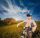 Kid on bicycle. Active Leisure Royalty Free Stock Photography