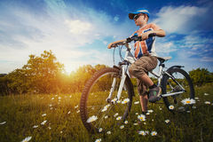 Kid on bicycle. Active Leisure Royalty Free Stock Images