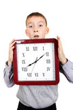 Kid with Big Clock Royalty Free Stock Photography