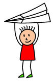 Kid with big paper airplane Stock Photo