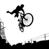 Kid biker. Vector illustration of a boy jumping with his bike Stock Photography