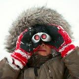 Kid with binocular royalty free stock photo
