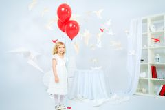 Kid and birds Royalty Free Stock Photo