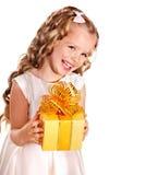 Kid with birthday gift box. Royalty Free Stock Photo