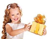 Kid with birthday gift box. Royalty Free Stock Photos