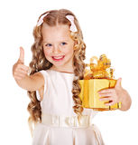 Kid with birthday gift box. Stock Images