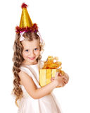 Kid with birthday gift box. Royalty Free Stock Images