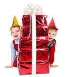 Kid with birthday gift box. Stock Image