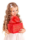 Kid with birthday gift box. Stock Photos