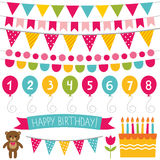 Kid birthday party decoration set Royalty Free Stock Images