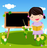 Kid and blackboard Royalty Free Stock Photos